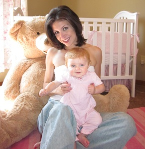 Mother daughter portrait, giant teddy bear