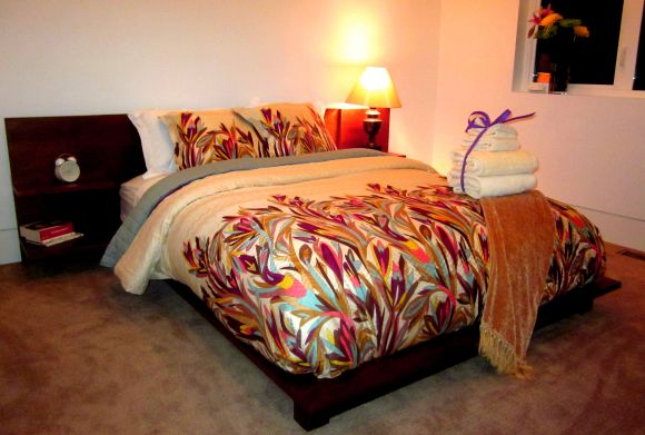 "Contemporary guest room, ""missoni bed set"", ""hosting house guests"""
